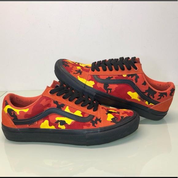 Vans Shoes | Custom Camo Vans Red Black